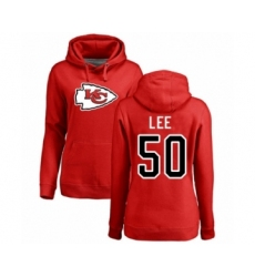 Football Women's Kansas City Chiefs #50 Darron Lee Red Name & Number Logo Pullover Hoodie