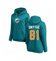 Football Miami Dolphins #81 Durham Smythe Aqua Green Backer Pullover Hoodie