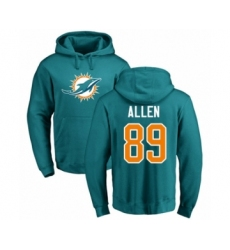 Football Miami Dolphins #89 Dwayne Allen Aqua Green Name & Number Logo Pullover Hoodie