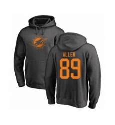 Football Miami Dolphins #89 Dwayne Allen Ash One Color Pullover Hoodie