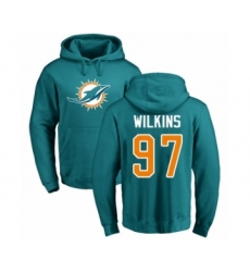 Football Miami Dolphins #97 Christian Wilkins Aqua Green Name & Number Logo Pullover Hoodie
