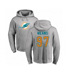 Football Miami Dolphins #97 Christian Wilkins Ash Name & Number Logo Pullover Hoodie