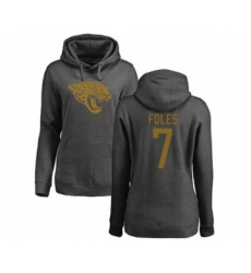 Football Women's Jacksonville Jaguars #7 Nick Foles Ash One Color Pullover Hoodie