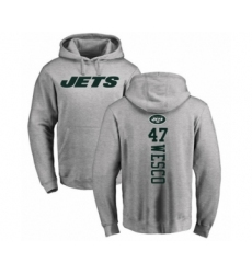 Football New York Jets #47 Trevon Wesco Ash Backer Pullover Hoodie