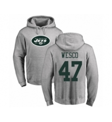 Football New York Jets #47 Trevon Wesco Ash Name & Number Logo Pullover Hoodie