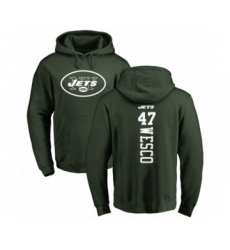 Football New York Jets #47 Trevon Wesco Green Backer Pullover Hoodie