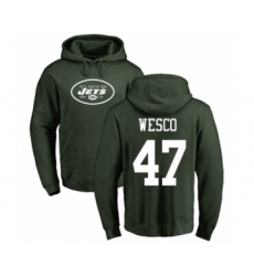 Football New York Jets #47 Trevon Wesco Green Name & Number Logo Pullover Hoodie