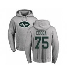 Football New York Jets #75 Chuma Edoga Ash Name & Number Logo Pullover Hoodie