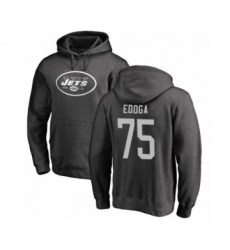 Football New York Jets #75 Chuma Edoga Ash One Color Pullover Hoodie