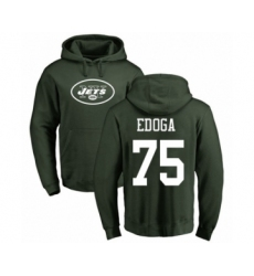 Football New York Jets #75 Chuma Edoga Green Name & Number Logo Pullover Hoodie
