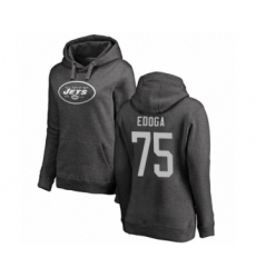 Football Women's New York Jets #75 Chuma Edoga Ash One Color Pullover Hoodie