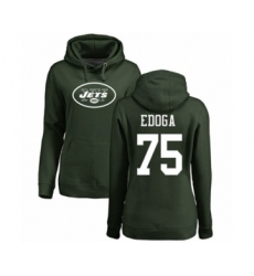 Football Women's New York Jets #75 Chuma Edoga Green Name & Number Logo Pullover Hoodie
