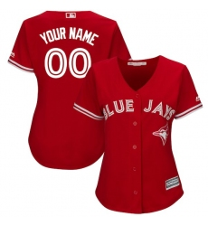 Women's Toronto Blue Jays Majestic Scarlet 2017 Cool Base Replica Custom Jersey