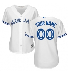 Women's Toronto Blue Jays Majestic White Home Cool Base Custom Jersey
