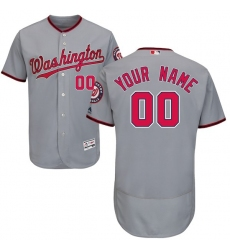Men's Washington Nationals Majestic Road Gray Flex Base Authentic Collection Custom Jersey