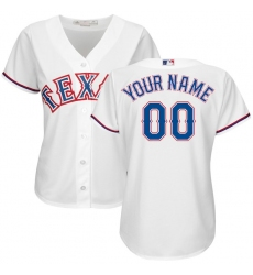 Women's Texas Rangers Majestic White Home Cool Base Custom Jersey