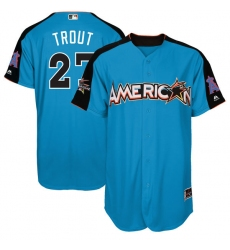 Men's Majestic Los Angeles Angels of Anaheim #27 Mike Trout Authentic Blue American League 2017 MLB All-Star MLB Jersey