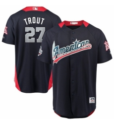 Men's Majestic Los Angeles Angels of Anaheim #27 Mike Trout Game Navy Blue American League 2018 MLB All-Star MLB Jersey