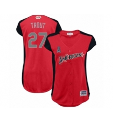 Women's Los Angeles Angels of Anaheim #27 Mike Trout Authentic Red American League 2019 Baseball All-Star Jersey