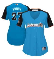 Women's Majestic Los Angeles Angels of Anaheim #27 Mike Trout Replica Blue American League 2017 MLB All-Star MLB Jersey