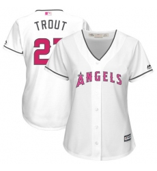 Women's Majestic Los Angeles Angels of Anaheim #27 Mike Trout Replica White Mother's Day Cool Base MLB Jersey