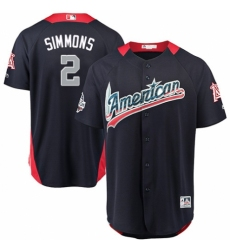 Men's Majestic Los Angeles Angels of Anaheim #2 Andrelton Simmons Game Navy Blue American League 2018 MLB All-Star MLB Jersey