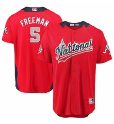 Men's Majestic Atlanta Braves #5 Freddie Freeman Game Red National League 2018 MLB All-Star MLB Jersey
