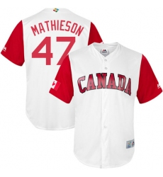 Men's Canada Baseball Majestic #47 Scott Mathieson White 2017 World Baseball Classic Replica Team Jersey
