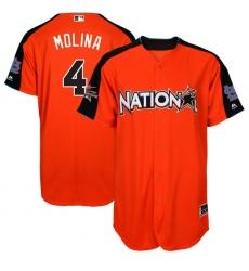 Men's Majestic St. Louis Cardinals #4 Yadier Molina Replica Orange National League 2017 MLB All-Star MLB Jersey