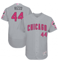 Men's Majestic Chicago Cubs #44 Anthony Rizzo Grey Mother's Day Flexbase Authentic Collection MLB Jersey