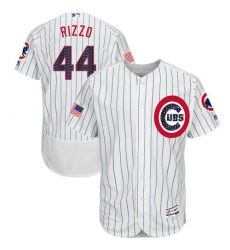 Men's Majestic Chicago Cubs #44 Anthony Rizzo White Stars & Stripes Authentic Collection Flex Base MLB Jersey
