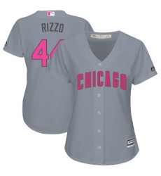 Women's Majestic Chicago Cubs #44 Anthony Rizzo Authentic Grey Mother's Day Cool Base MLB Jersey