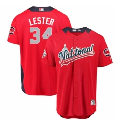 Men's Majestic Chicago Cubs #34 Jon Lester Game Red National League 2018 MLB All-Star MLB Jersey