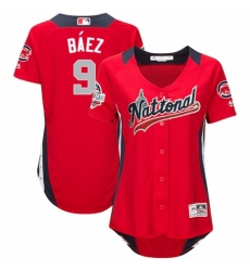 Women's Majestic Chicago Cubs #9 Javier Baez Game Red National League 2018 MLB All-Star MLB Jersey