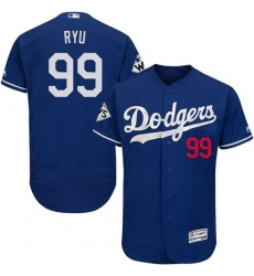 Men's Majestic Los Angeles Dodgers #99 Hyun-Jin Ryu Authentic Royal Blue Alternate 2017 World Series Bound Flex Base MLB Jersey