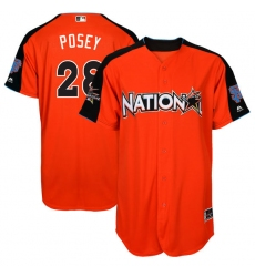 Youth Majestic San Francisco Giants #28 Buster Posey Replica Orange National League 2017 MLB All-Star MLB Jersey