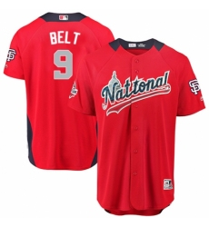 Youth Majestic San Francisco Giants #9 Brandon Belt Game Red National League 2018 MLB All-Star MLB Jersey