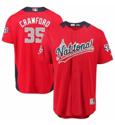 Men's Majestic San Francisco Giants #35 Brandon Crawford Game Red National League 2018 MLB All-Star MLB Jersey