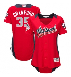 Women's Majestic San Francisco Giants #35 Brandon Crawford Game Red National League 2018 MLB All-Star MLB Jersey