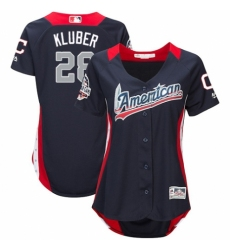 Women's Majestic Cleveland Indians #28 Corey Kluber Game Navy Blue American League 2018 MLB All-Star MLB Jersey
