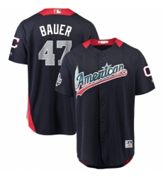Men's Majestic Cleveland Indians #47 Trevor Bauer Game Navy Blue American League 2018 MLB All-Star MLB Jersey