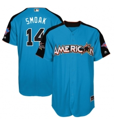 Men's Majestic Toronto Blue Jays #14 Justin Smoak Authentic Blue American League 2017 MLB All-Star MLB Jersey