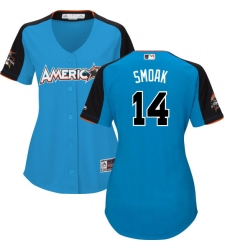 Women's Majestic Toronto Blue Jays #14 Justin Smoak Authentic Blue American League 2017 MLB All-Star MLB Jersey