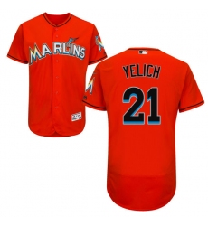 Men's Majestic Miami Marlins #21 Christian Yelich Orange Flexbase Authentic Collection MLB Jersey