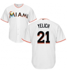 Men's Majestic Miami Marlins #21 Christian Yelich Replica White Home Cool Base MLB Jersey