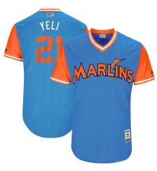 Men's Majestic Miami Marlins #21 Christian Yelich