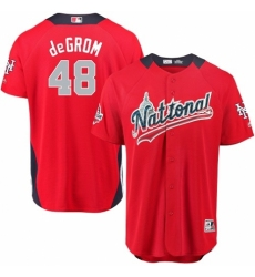 Men's Majestic New York Mets #48 Jacob deGrom Game Red National League 2018 MLB All-Star MLB Jersey
