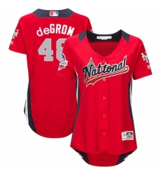 Women's Majestic New York Mets #48 Jacob deGrom Game Red National League 2018 MLB All-Star MLB Jersey