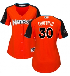 Women's Majestic New York Mets #30 Michael Conforto Authentic Orange National League 2017 MLB All-Star MLB Jersey