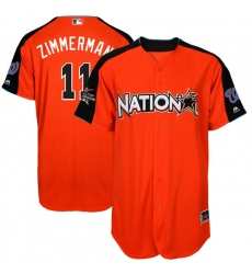 Men's Majestic Washington Nationals #11 Ryan Zimmerman Authentic Orange National League 2017 MLB All-Star MLB Jersey